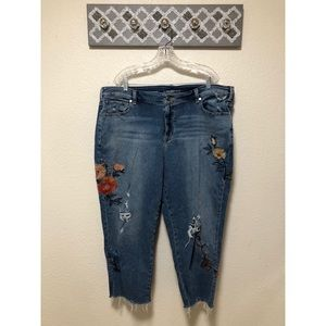 Lane Bryant Girlfriend Jeans Embroidered Floral 22